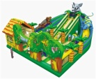 Cheer Amusement Themed Silde and Themed Obstacle Inflatable Combo