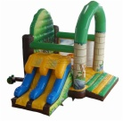 Cheer Amusement Jungle Themed Inflatable Combo / Jungle Slide With Bouncer